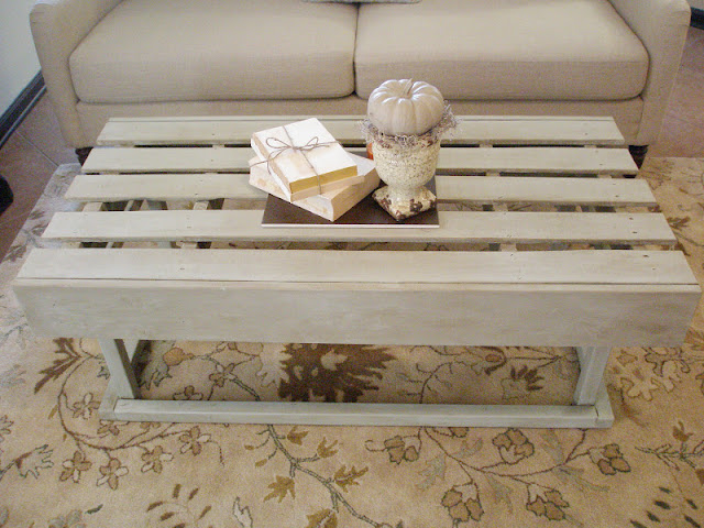 Repurposed Pallet Coffee Table- www.AdorByMelissa.com