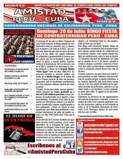 "BOLETÍN N°013 ""AMISTAD PERÚ CUBA"""