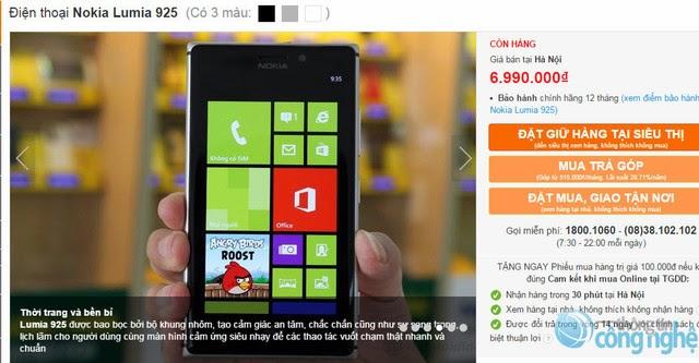 Lumia 925 chỉ còn 6.990.000 đồng