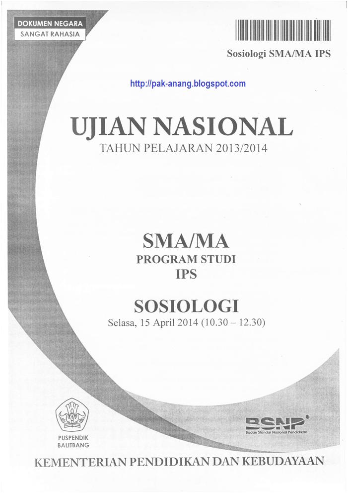 Naskah Soal Un Sosiologi Sma 2014 Paket 1