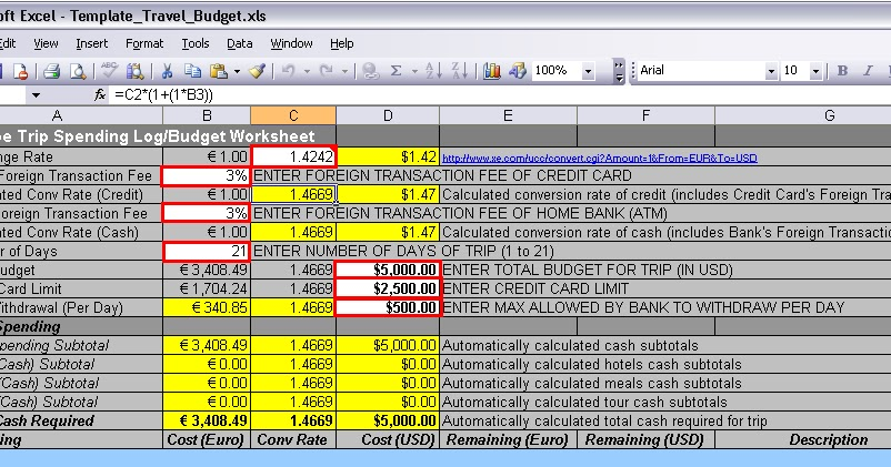 engineering a travel plan european travel budget template in excel. Black Bedroom Furniture Sets. Home Design Ideas