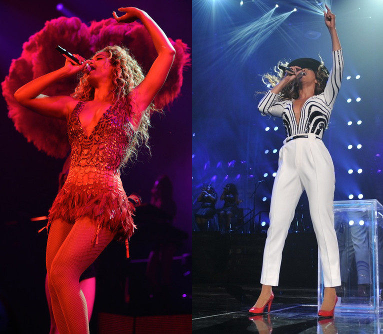 Beyonce in custom Gucci outfits for Mrs. Carter concert 2013