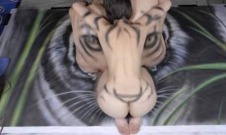 mulher, pintura corporal, tigre, nua, tatuagem