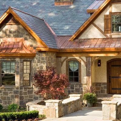 Modelo de fachada de casa rústica oriental