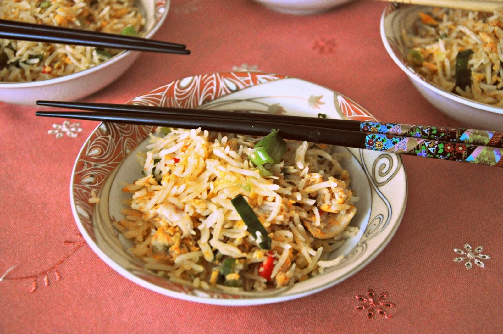 stegte ris med laks