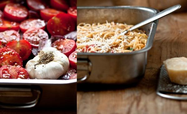 Tomaten Knoblauchzehe Spaghetti Collage