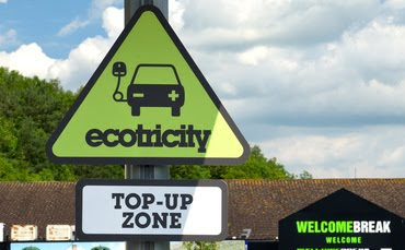 Ecotricity charging point at a Welcome Break motorway services