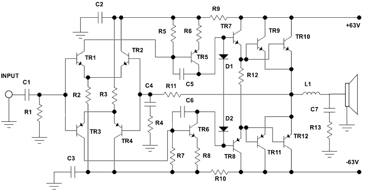 electronics circuit application   500 watt audio power