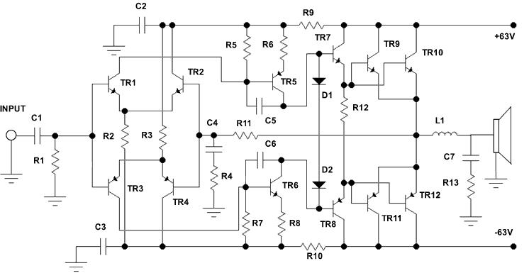 electronics circuit application   500 watt audio power