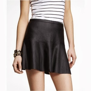 Express minus the leather fit and flare skirt black