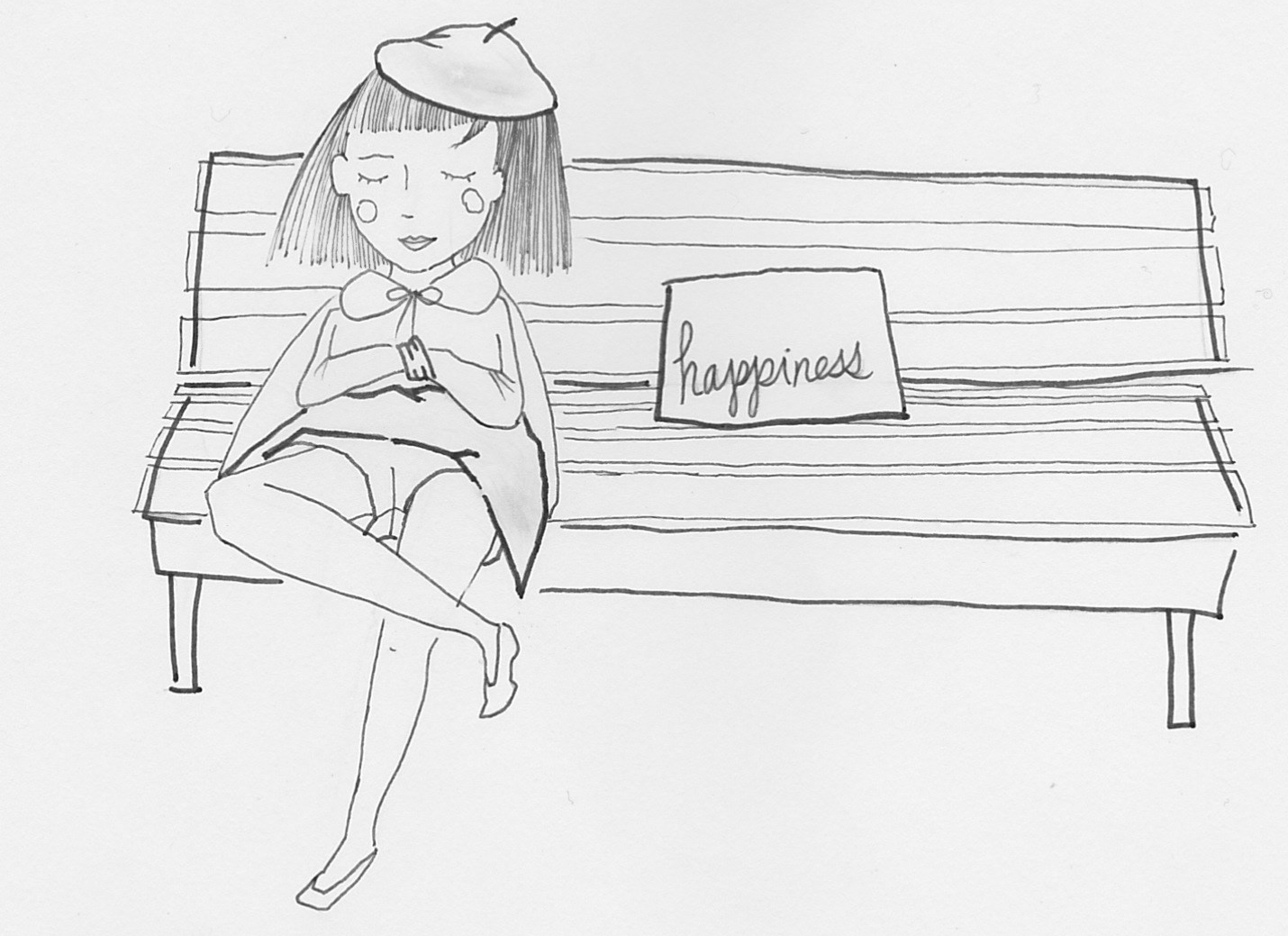 line ink drawing girl sitting on bench