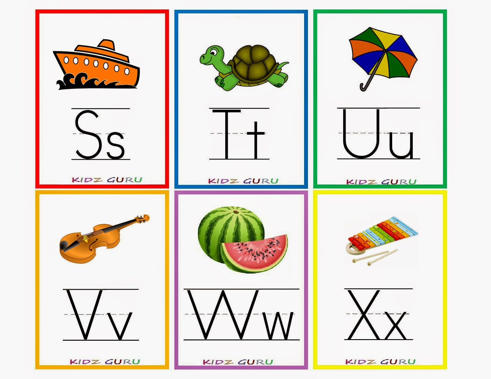Kindergarten Worksheets: Printable Worksheets - Alphabet flash cards 4