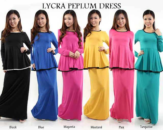 lycra peplum dress terkini