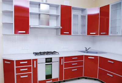 Painted red kitchen cabinets, red lacquer kitchen cabinets, red birch kitchen cabinets, cherry red kitchen cabinets, red kitchens with oak cabinets