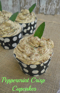 Peppermint Crisp Cupcakes ~ Rich, moist Chocolate Cupcakes, filled with Caramel and a frosting which tastes just like a Peppermint Crisp Tart ! #Cupcakes #PeppermintCrisp #SweetTreats #ChocolateCupcakes www.WithABlast.net