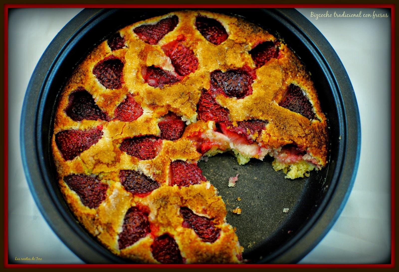 bizcocho tradicional con fresas tererecetas 04