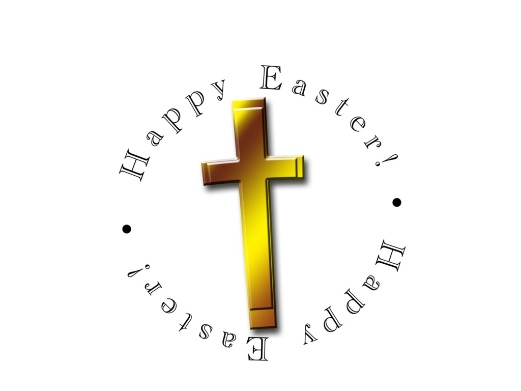Happy Easter Cross Palm cross and happy easter