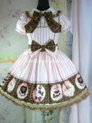 Sweet Chocolate Printed Bow Rococo Lolita Dress