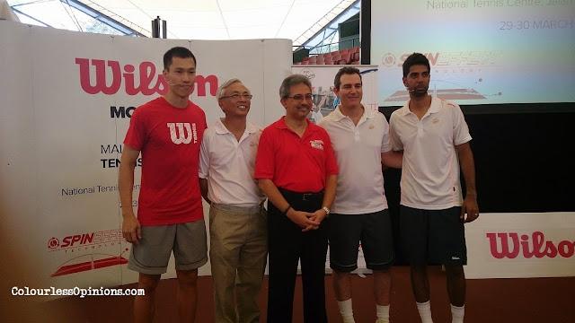 Mirzan Tun Mahathir, Mike Miringoff, Si Yiew Ming, Rohan Gajjar at Wilson Spin Effect Racquet launch 2014 in Malaysia