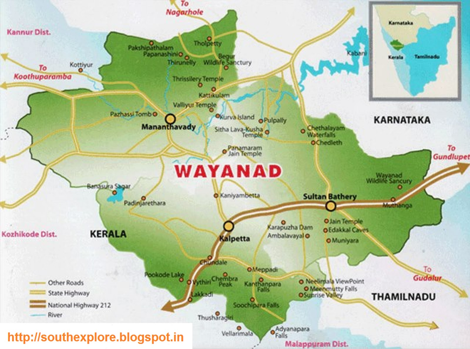 WAYANAD TOURISM MAP TOURIST PLACES IN WAYANAD – South India Map With Tourist Places