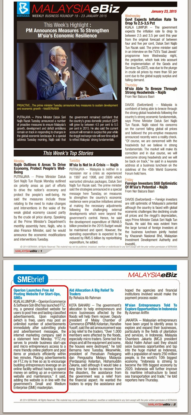 Bernama E-Biz Malaysia Weekly News