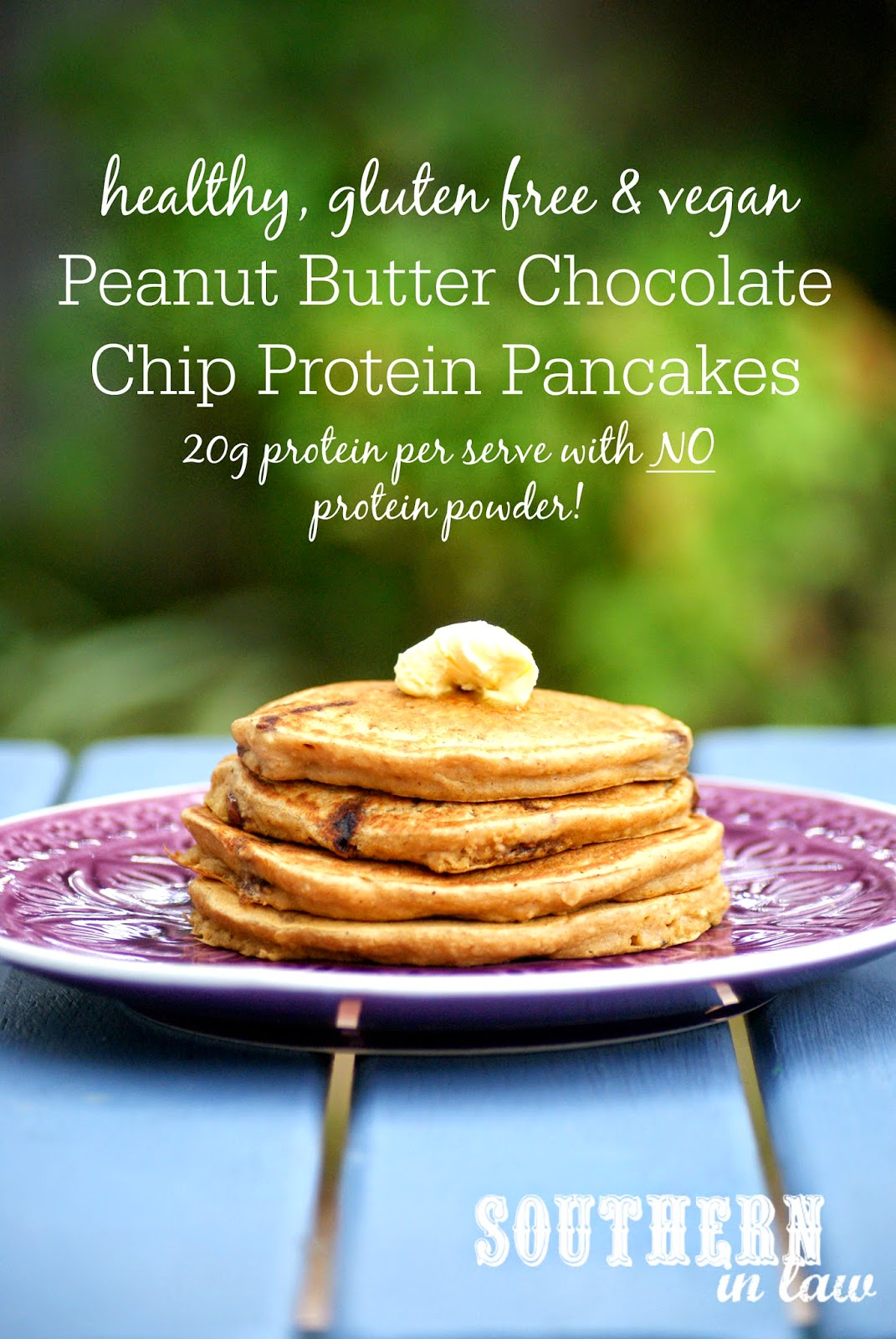 Healthy Peanut Butter Chocolate Chip Protein Pancake Recipe Without Protein Powder - gluten free, vegan, clean eating friendly, sugar free, gluten free, healthy, egg free, dairy free