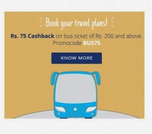 Buy Bus Ticket Rs. 75 cashback on Rs. 200 at Paytm : Buy To Earn