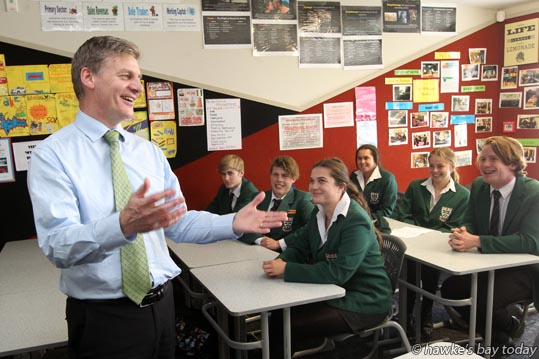 Bill English, deputy prime minister, speaking to a business class at Karamu High School, Hastings. photograph