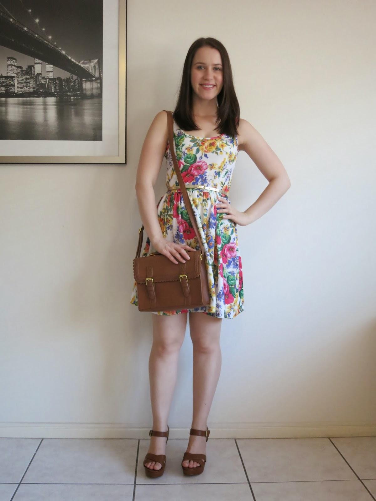 petite outfit, petite girl outfit, zara floral dress, tan accessories, ASOS bag, tan wedges