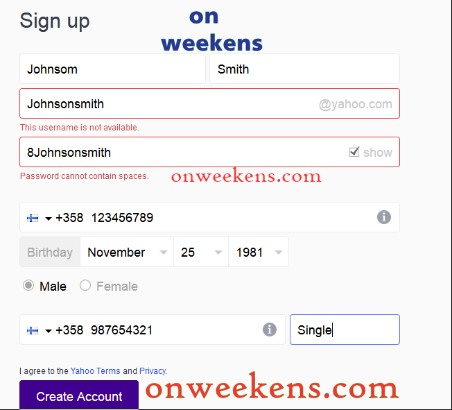 Yahoo new member sign up
