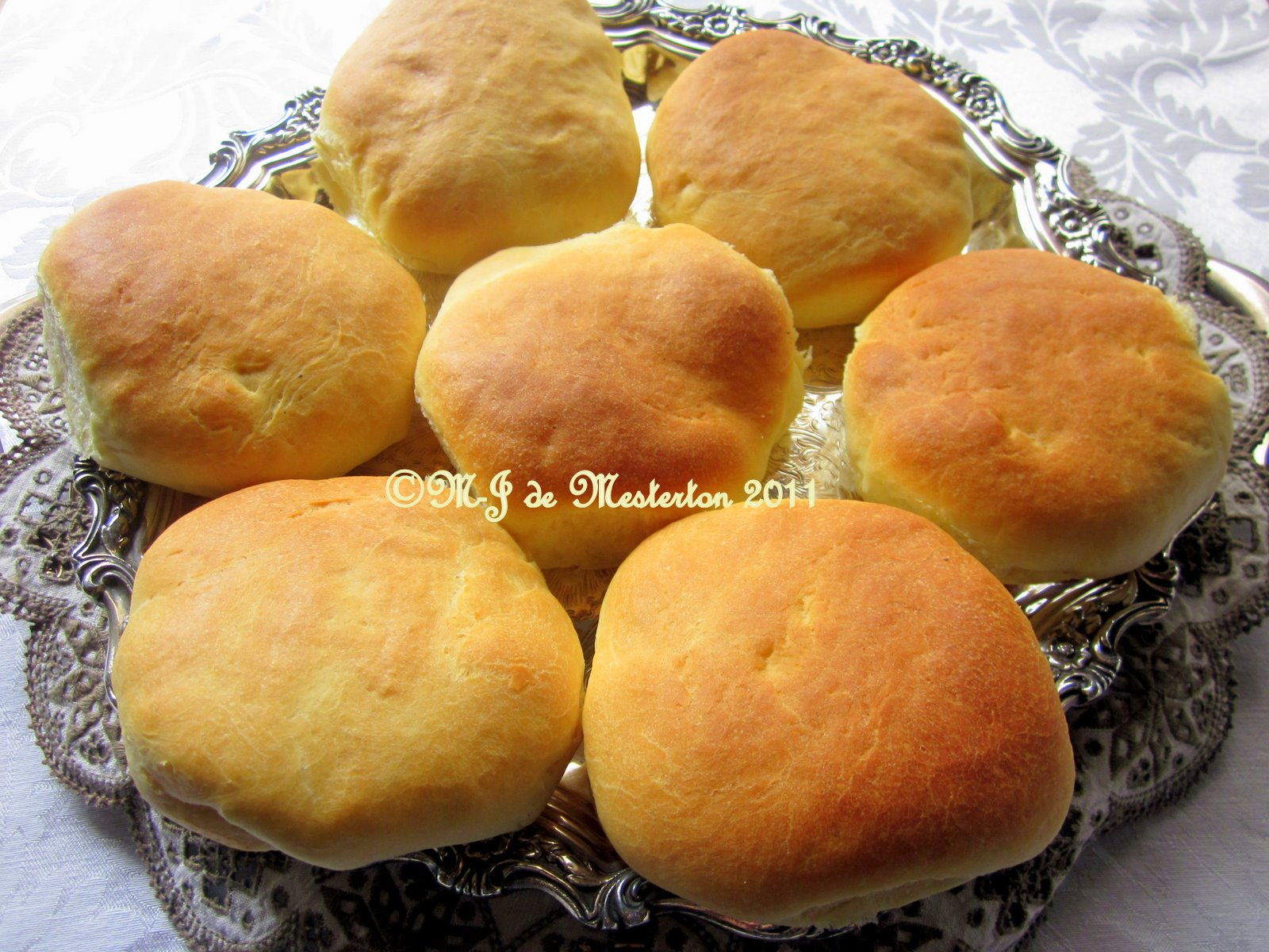 Brioche buns made for hamburgers by M-J sit atop a Countess silver