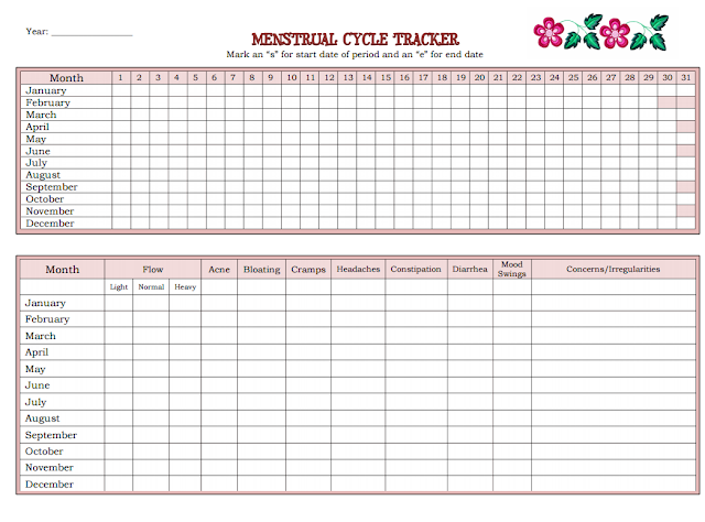 Printable Menstrual Cycle Tracker