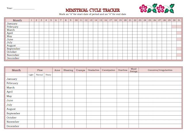 Printable Menstrual Cycle Tracker