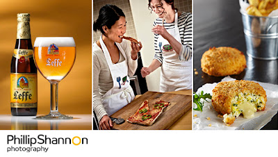 Food and Drink Photography of Professional Photographer Beer Pizza Fish cakes