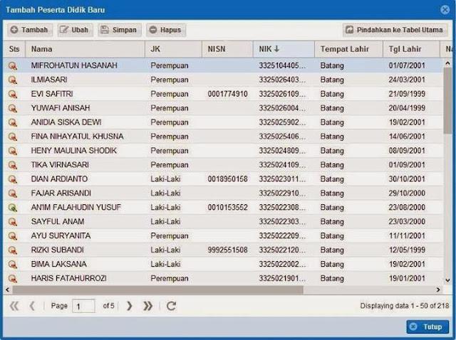memasukkan siswa tambahan mutasi pindahan dan belum sempat diinput daidapodik 2012 ke tabel utama peserta didik
