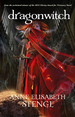 cover of Dragonwitch by Anne Elisabeth Stengl has a woman in a smoldering red dress reaching for a sword