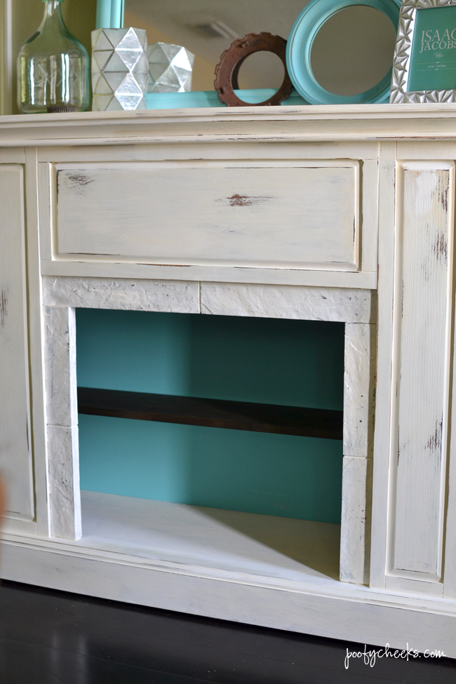 Faux Mantel Redo - Before and After with Chalk Paint and Shelving