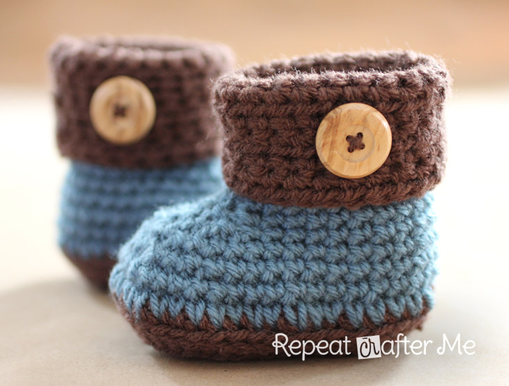 Crochet Baby Booties Pattern For Free : Crochet Cuffed Baby Booties Pattern - Repeat Crafter Me