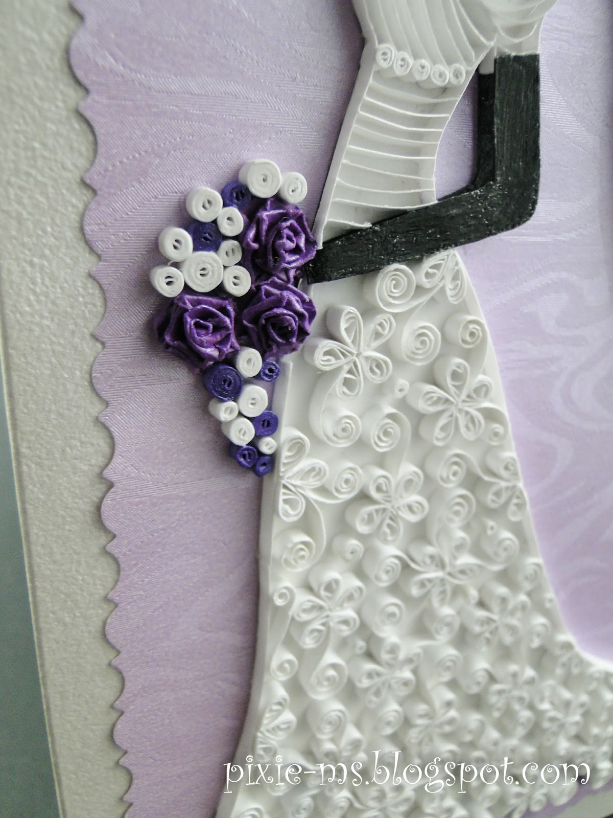 Pap rvil g quilled bride on a card quilling for Simple paper quilling designs