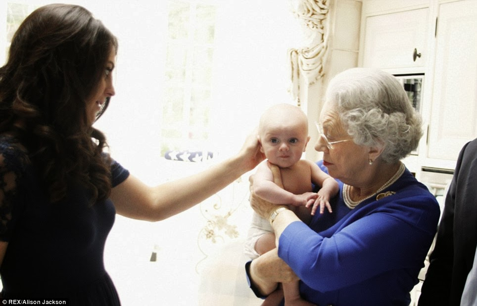 William changes Prince George nappies and the Queen tucks