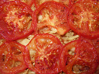 Cabbage with Layer of Tomato Slices After Baking