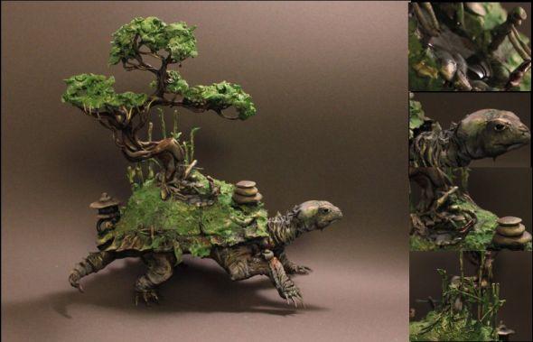 Ellen Jewett CreaturesFromEl deviantart esculturas surreais mixed animais Tartaruga zen