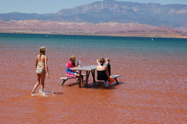 Picnic Table Right in the Lake at Sand Hollow Near St. George Utah