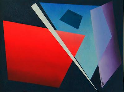 Geometria abstrata - Óleo em técnica mista - 0,60 X 0,80 - setembro de 2015 - Artista Elma Carneiro