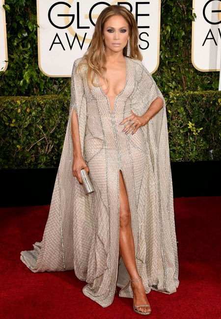 Дженифър Лопес в прозрачна рокля на Zuhair Murad на наградите Златен глобус 2015