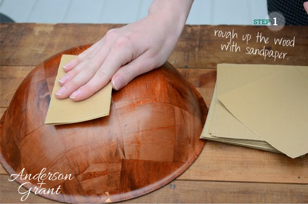 The first step of creating some DIY painted bowls is to rough up the wood with sandpaper | www.andersonandgrant.com
