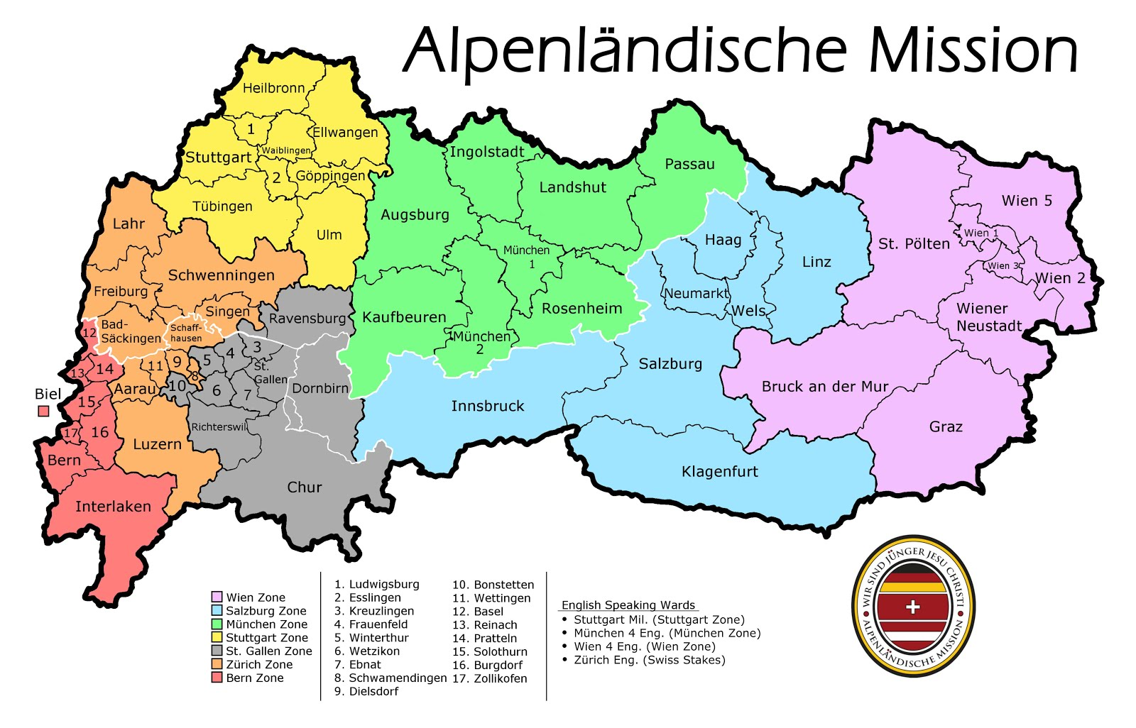 Alpenländische Mission Zones/Stakes Map