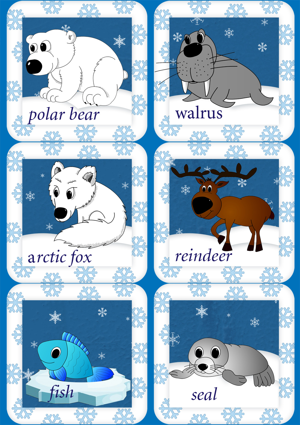 There are also Arctic animals flashcards for using while playing ...