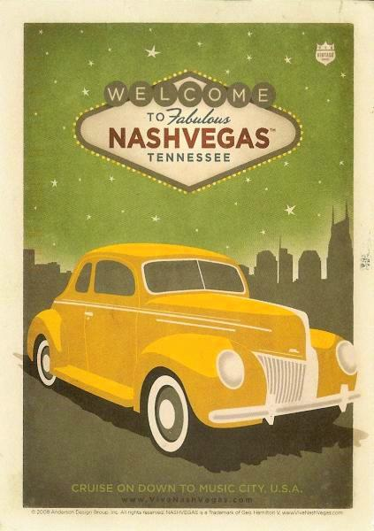 old poster style postcard showing vintage car