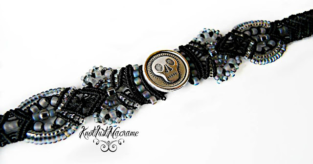 Beaded micro macrame bracelet with skull by Sherri Stokey.
